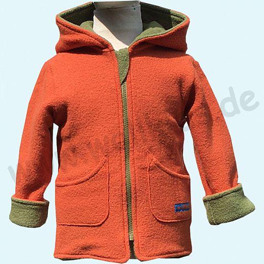 NEUHEIT: WOLLKIDS Doubleface - Wende-Walkjacke waldgrün - orange - reine Schurwolle - mit Aufhänger