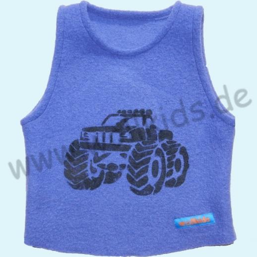 NEU: Schlupfweste blau mit Druck  Riesen Truck LKW Schurwolle