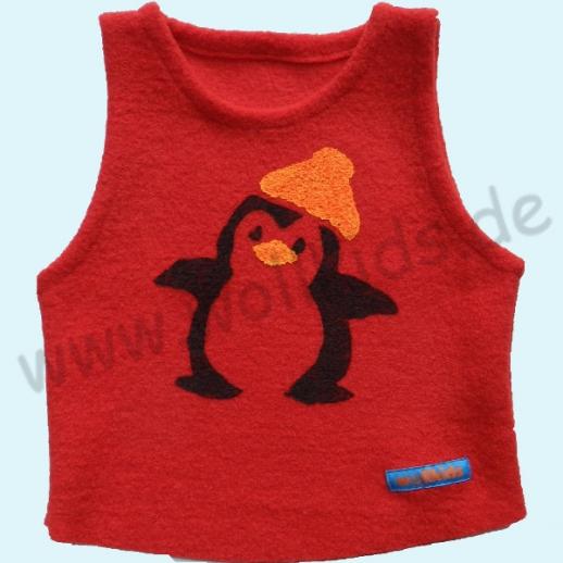 NEU: Schlupfweste rot mit Druck Pinguin - sooo knuffig.... Schurwolle
