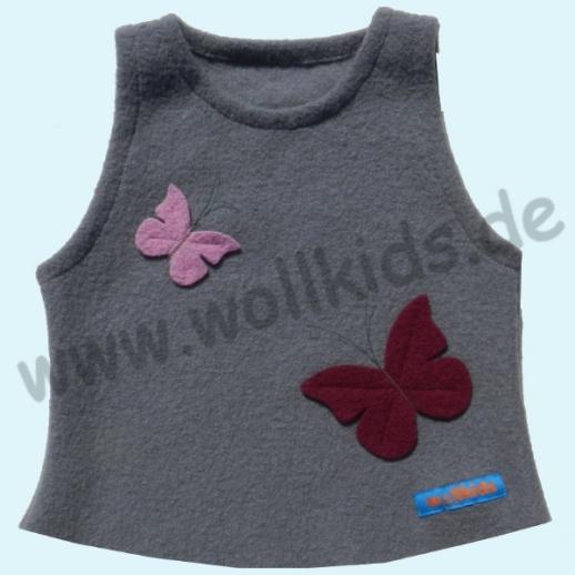 NEU: Schlupfweste hellgrau mit Schmetterlingen 3D Effekt Walk Schurwolle
