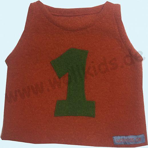 Sondermodell: Schlupfweste Pullunder orange mit 1 gras grün Schurwolle 62 68