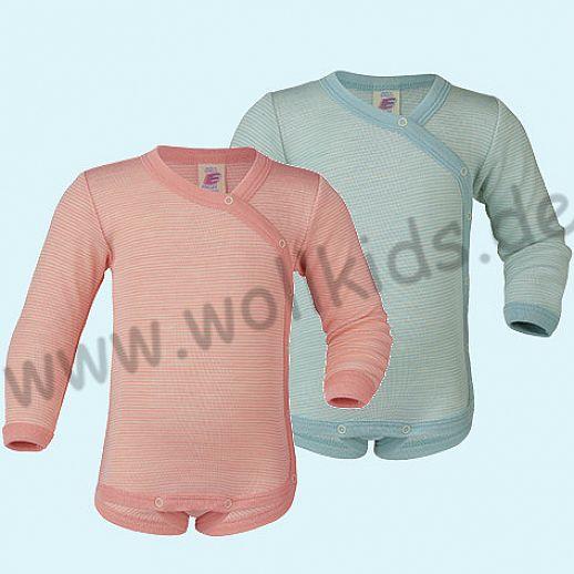 Engel Wickelbody Wolle/Seide gletscher oder lachs Ringel - für Frühchen oder kleine Babys