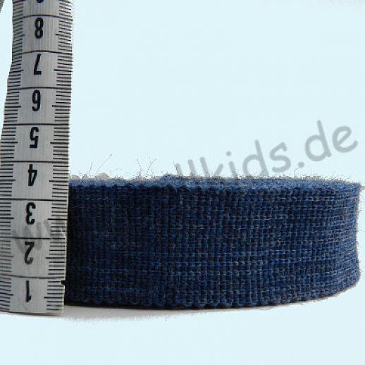 REST 80cm - Wollborte - 100% Schurwolle - jeans - Tresse Wolltresse - Einfassband