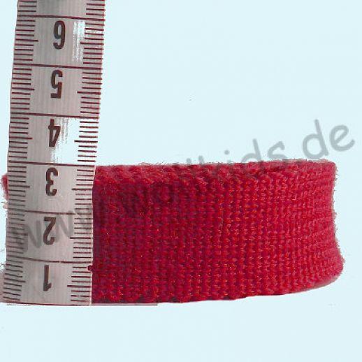 Rest 1,25 m Wollborte - 100% Schurwolle - rot schmal - Tresse Wolltresse - Einfassband