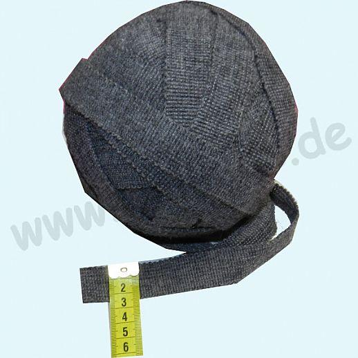 Wollborte - 100% Schurwolle - hellgrau melange - Tresse Wolltresse - Einfassband