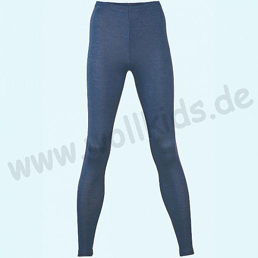 ENGEL: Damen Leggin - lange Unterhose - Wolle Seide marine BIO