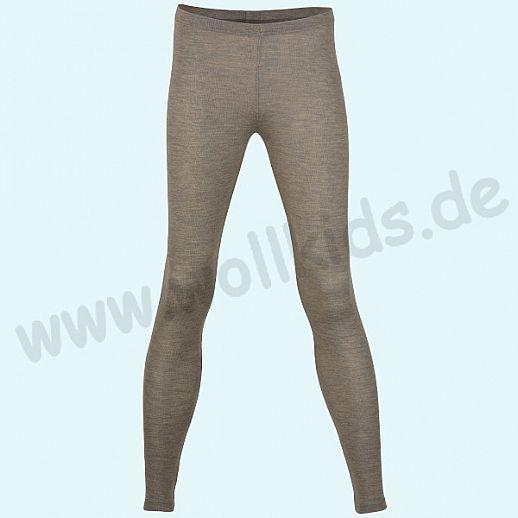ENGEL: Damen Leggin - lange Unterhose - Wolle Seide walnuß BIO