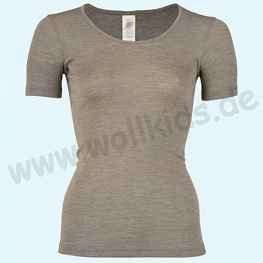 ENGEL: Damen Kurzarm Hemd - KA Hemd - Wolle Seide walnuß BIO