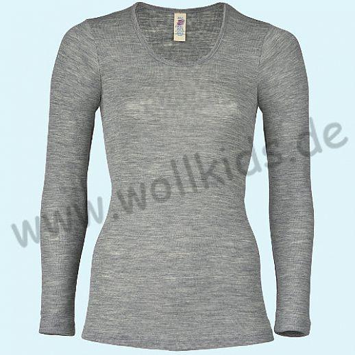 ENGEL: Damen Langarm Hemd - LA Hemd - Wolle Seide hellgrau melange BIO
