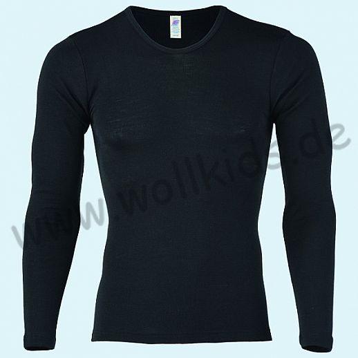 ENGEL: Herren Langarm Hemd - LA Hemd - Wolle Seide schwarz BIO