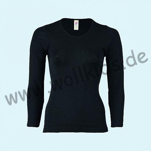 ENGEL: Damen Langarm Hemd - LA Hemd - Wolle Seide schwarz BIO