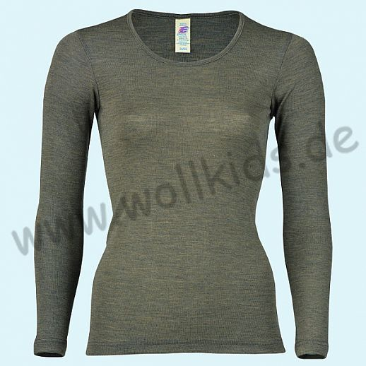 ENGEL: Damen Langarm Hemd - LA Hemd - Wolle Seide walnuß BIO
