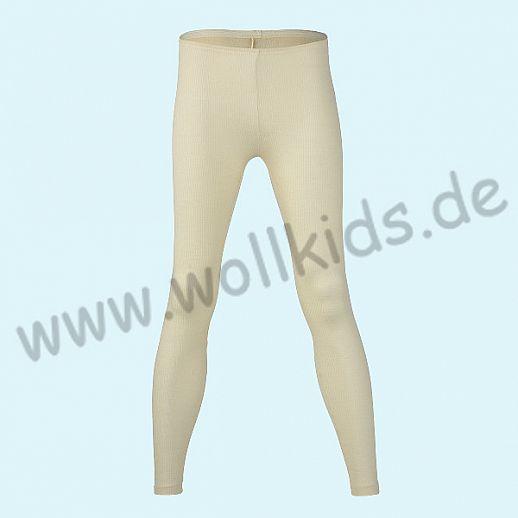 ENGEL: Damen Leggin - lange Unterhose - Wolle Seide - Nadelzug natur BIO