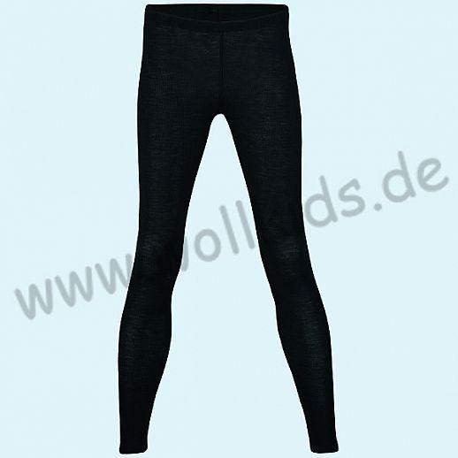 ENGEL: Damen Leggin - lange Unterhose - Wolle Seide schwarz BIO