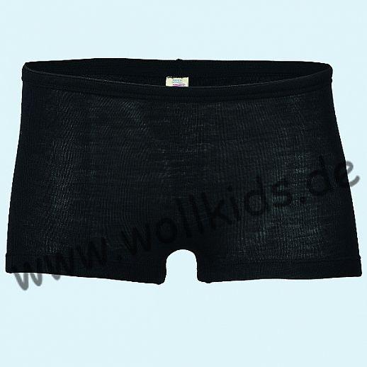 ENGEL: Damen Pants Panty Unterhose mit kurzem Bein - Wolle Seide schwarz BIO