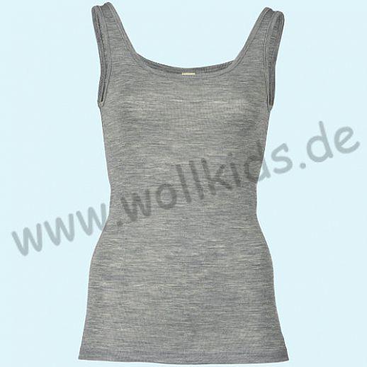 ENGEL: Damen Trägerhemd - Hemd - Wolle Seide hellgrau melange BIO
