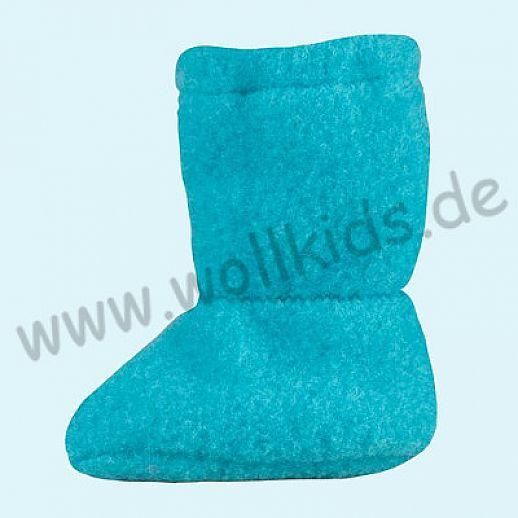 PURE PURE by Bauer: Wollfleece weiche Babystiefel - Schuhe ideal auch für Traglinge - pagoda blue