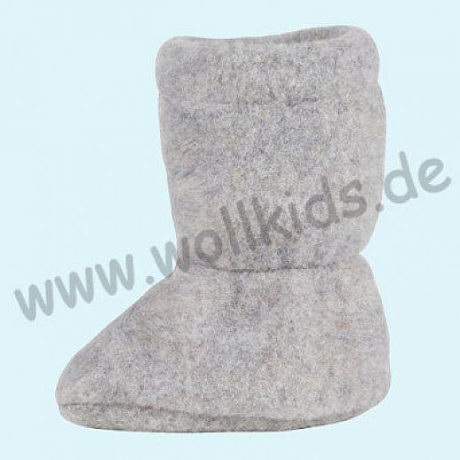 PURE PURE by Bauer: Wollfleece weiche Babystiefel - Schuhe ideal auch für Traglinge - grau melange