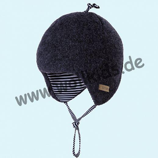 PURE-TEX Weiche Wollfleece Mütze, kbT Schurwolle jeans - kuschelig weich - perfekter Sitz