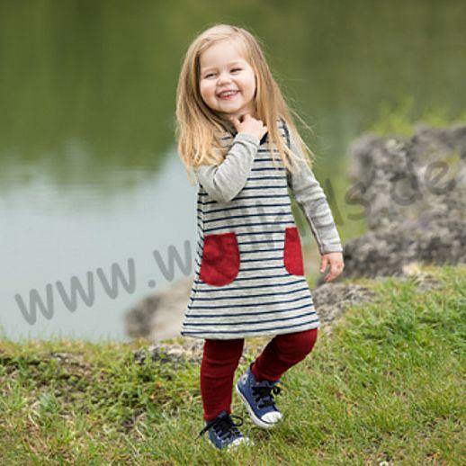 Engel Schurwollfrottee Kleidchen Kleid marine grau kbT Merino-Wolle