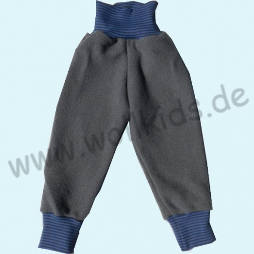 NEU: Wohlfühlhose - Walkhose mit Nabelbund - grau mit Ringelbund