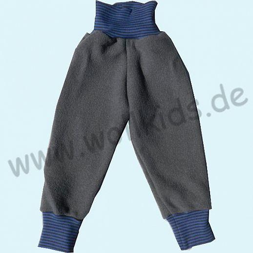 Wohlfühlhose - Walkhose mit Nabelbund - hellgrau - Yogabund grau-blau Ringel