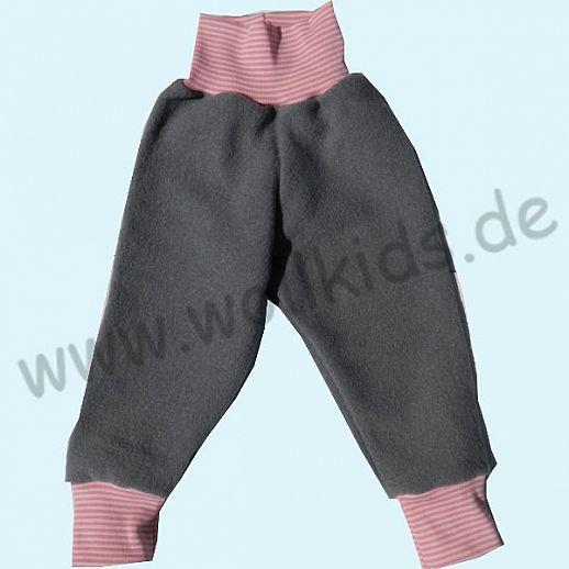 Wohlfühlhose - Walkhose mit Nabelbund - hellgrau - Yogabund rosa-rosa Ringel