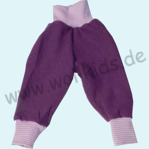 NEU: Wohlfühlhose - Walkhose mit Nabelbund - lila mit Ringelbund
