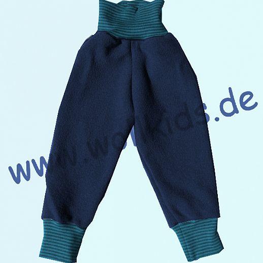 Wohlfühlhose - Walkhose mit Nabelbund - navy blau - Yogabund petrol Ringel