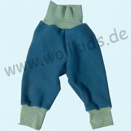B-Ware: Wohlfühlhose - Walkhose mit Nabelbund - petrol - Yogabund kiwi-hellblau Ringel