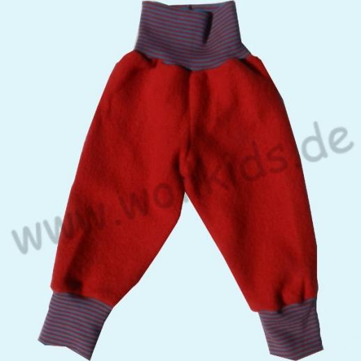 NEU: Wohlfühlhose - Walkhose mit Nabelbund - rot mit Ringelbund
