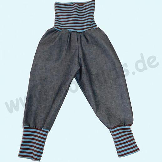 Sondermodell: Wohlfühlhose - Jeans mit Nabelbund - Bio Baumwolle - Bio Ringel Bund