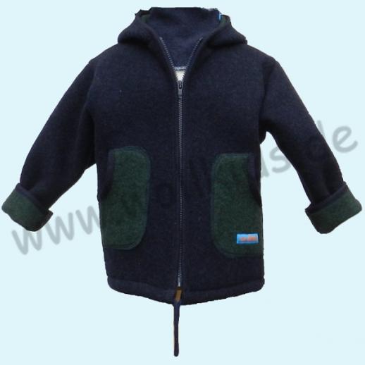 NEU: Double Face Walk Jacke - Öko-Walk Winter Nachtblau Grün Schurwolle