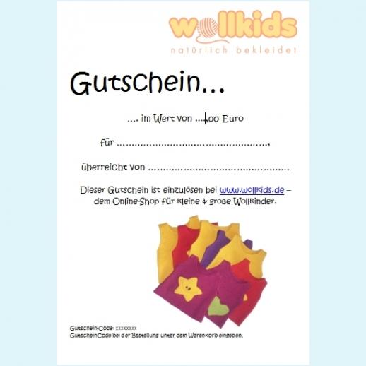 Wollkids Geschenk-Gutschein - 10 Euro - Wert