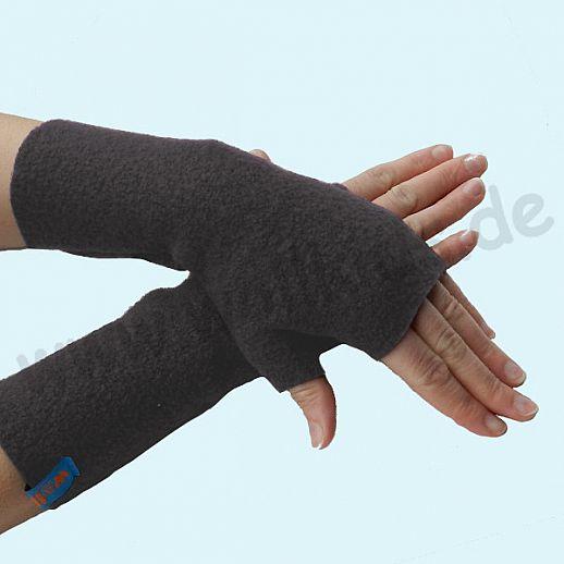 NEU: Damen Pulswärmer Handstulpe Stulpen Walk 100% Schurwolle anthrazit