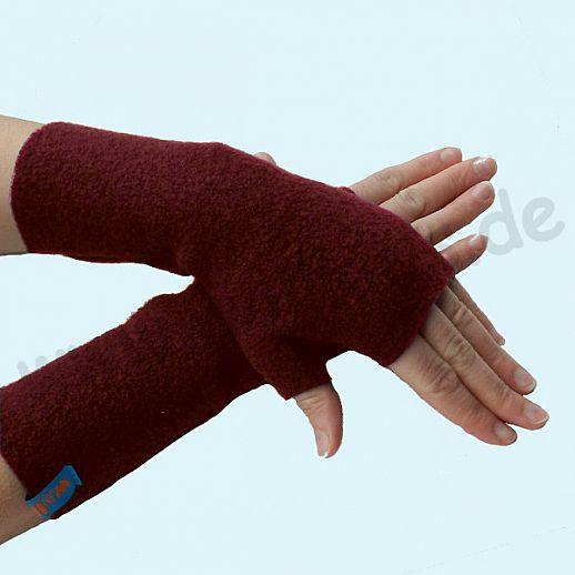 NEU: Damen Pulswärmer Handstulpe Stulpen Walk 100% Schurwolle bordeaux