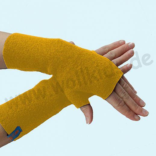 NEU: Damen Pulswärmer Handstulpe Stulpen Walk 100% Schurwolle curry