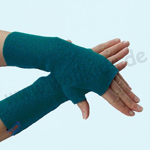 NEU: Damen Pulswärmer Handstulpe Stulpen Walk 100% Schurwolle dunkelpetrol