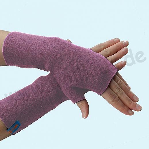 NEU: Damen Pulswärmer Handstulpe Stulpen Walk 100% Schurwolle heide
