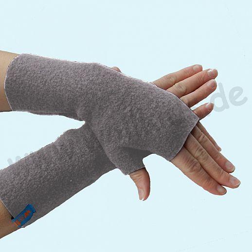 NEU: Damen Pulswärmer Handstulpe Stulpen Walk 100% Schurwolle hellgrau