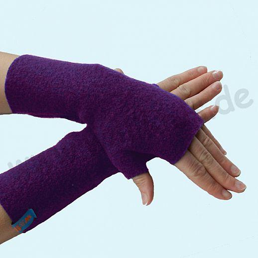 NEU: Damen Pulswärmer Handstulpe Stulpen Walk 100% Schurwolle lila