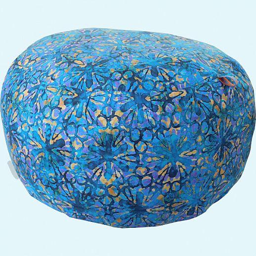 Wollkids Sitzkissen Tropicalia Blumen Batik blau - Hocker - Jugendzimmer - Meditationskissen groß