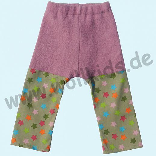 Sommer-Longie Öko-Walk Baumwolle Hose altrosa bunte Sterne - Windelhose
