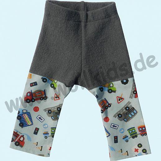 Sommer-Longie Öko-Walk Baumwolle Hose grau Fahrzeuge - Windelhose