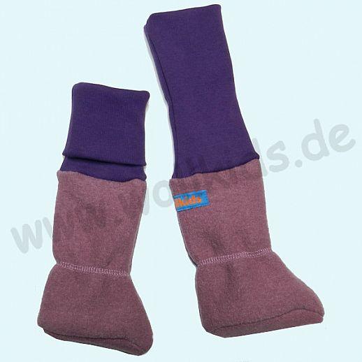 Baby Tragestiefel heide mit Bündchen in lila Schurwolle Walk muckelig warme Füße