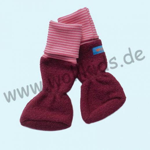 B WARE - Baby Tragestiefel beere pink Ringel Schurwolle Walk muckelig warme Füße