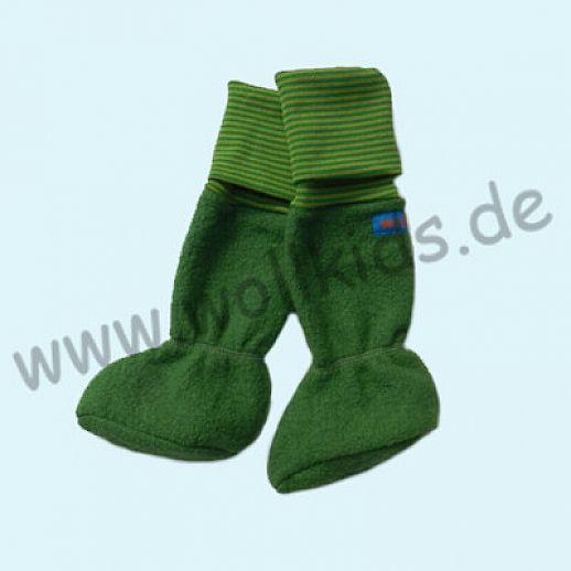 Baby Tragestiefel gras grün Ringel Schurwolle Walk muckelig warme Füße