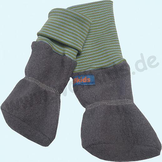 Baby Tragestiefel hellgrau kiwi-hellblau Ringel Schurwolle Walk muckelig warme Füße