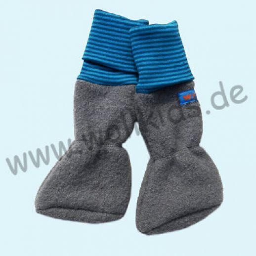 Baby Tragestiefel hellgrau Petrol Ringel Schurwolle Walk muckelig warme Füße