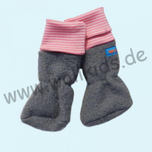 Baby Tragestiefel hellgrau rosa Ringel Schurwolle Walk muckelig warme Füße
